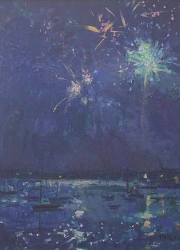 Andrew Tozer Original Acrylic Painting The Firework Display Cornwall